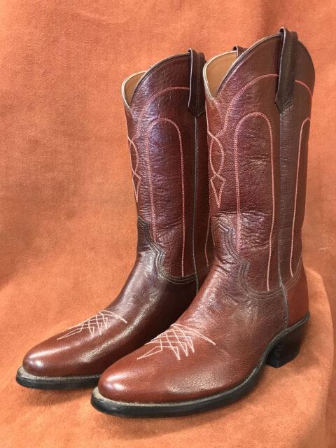 Deep Burgundy Buffalo Calf Cowboy Boots