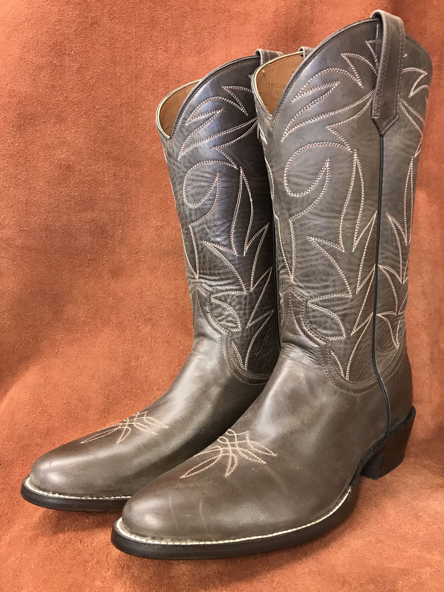 Distressed Brown Calfskin Cowboy Boots