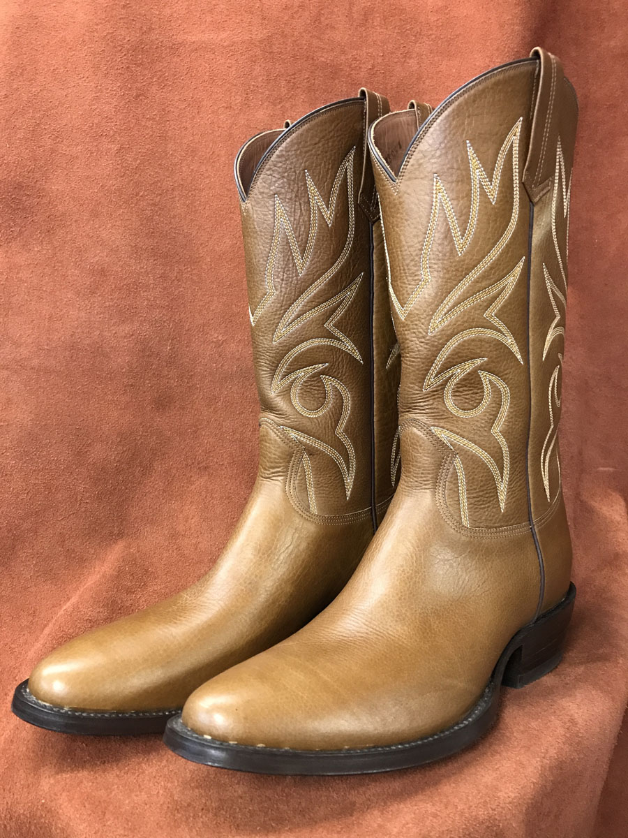 Tan Buffalo Calf Cowboy Boots
