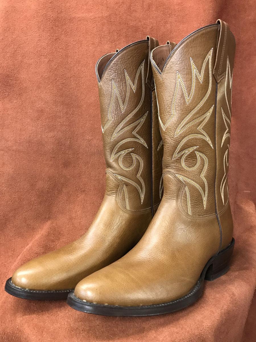 Tan Buffalo Calf Cowboy Boots