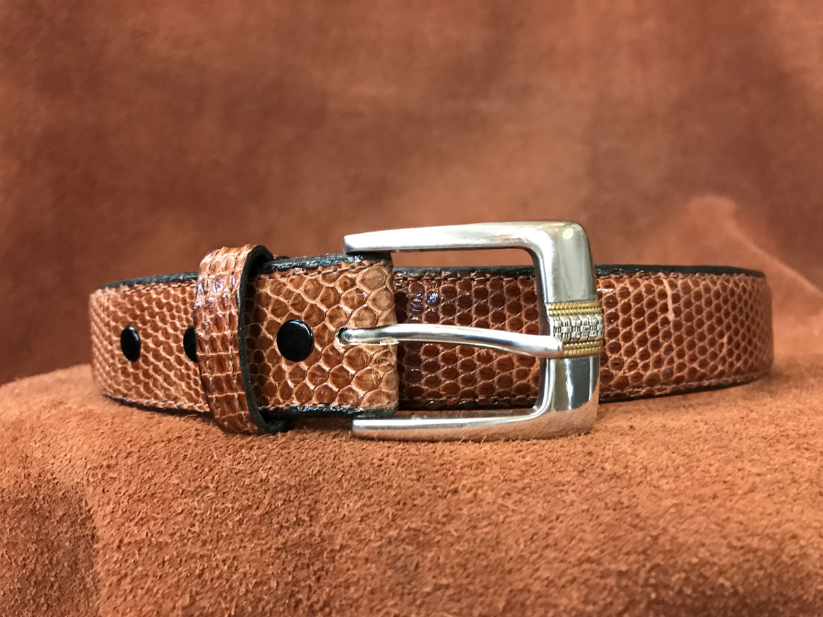 cognac lizard belt