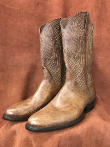 distressed brown leather cowboy boots