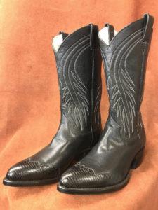 lizard wingtip black cowboy boots